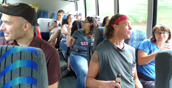 Fred staff on the bus bound for Boston.
